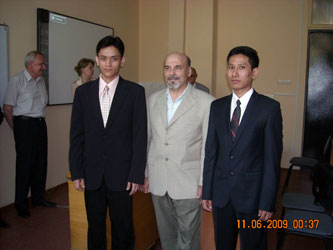 1. Student from Myanmar Mr. Banyar Kyaw (on the right) who is the laureate of the XV International Students' Conference, with his scientific suprevisor Professor B.S. Rinkevichus (at the centre)