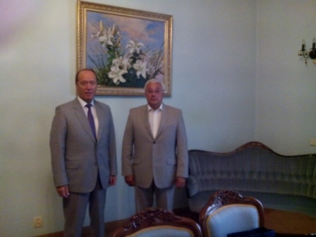 215. MPEI Rector N. Rogalev with Ambassador Extraordinary and Plenipotentiary of the Russian Federation in Republic of Latvia Aleksandrs Vesnakovs