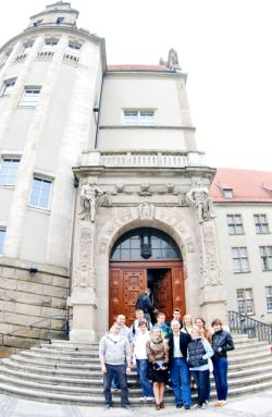 81. MPEI students delegation near the main building of Wroclaw Polytechnic